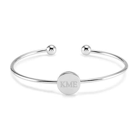 display slide 1 of 2 - Silver Circle Monogram Cuff Bangle - selected slide