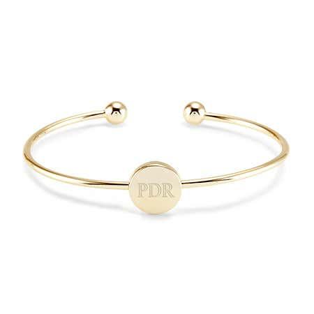 Gold Cuff Monogram Bangle Bracelet | Eve's Addiction