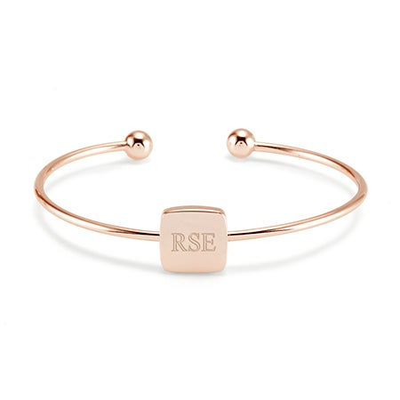 Rose Gold Square Signet Cuff Bracelet | Eve's Addiction