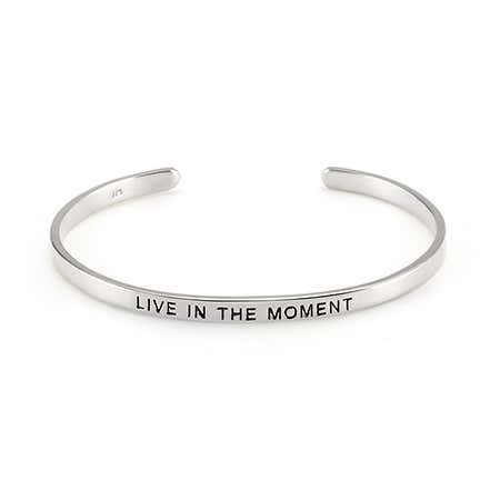 Live In The Moment Sterling Bangle | Eve's Addiction