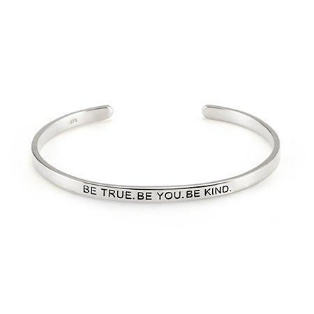 Be True Be You Silver Cuff Bracelet | Eve's Addiction