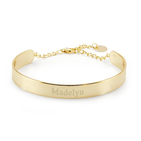 Engravable Gold Name Cuff Bracelet | Eve's Addiction