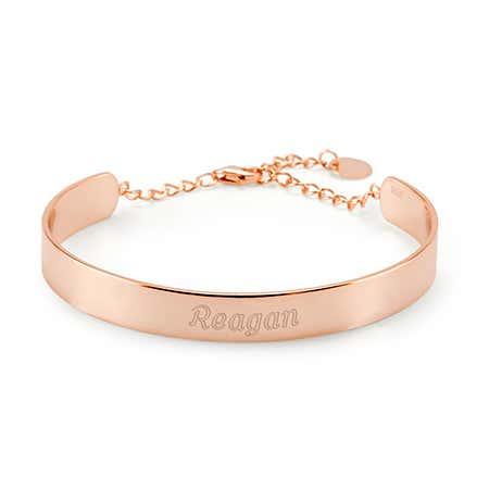 Engraved Rose Gold Name Cuff Bracelet