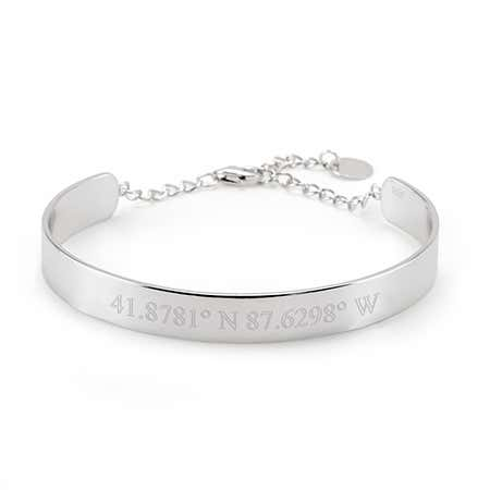 925 Silver Name Engraved Cuff Bracelet | Eve's Addiction