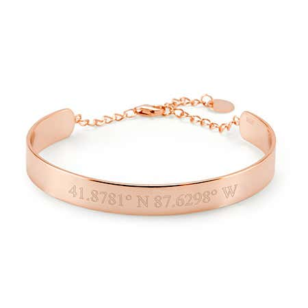 Engraved Rose Gold Cuff Name Bracelet | Eve's Addiction
