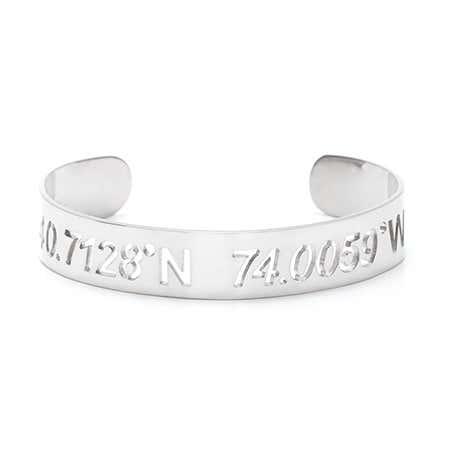 Silver Cut Out Coordinates Bracelet