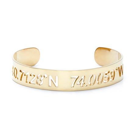 Gold Personalized Coordinates Cut Out Bangle Bracelet
