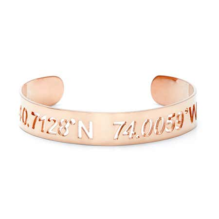 Rose Gold Custom Coordinates Cut Out Cuff Bracelet