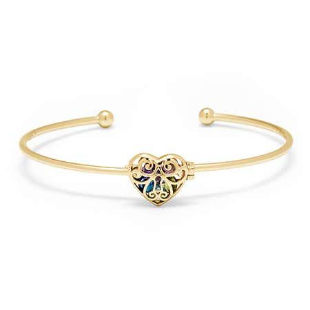Gold Custom Locket Heart Cuff Bangle | Eve's Addiction