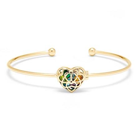 Gold Custom Heart Locket Bracelet   Custom Locket Cuff