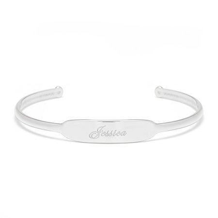 Open Silver Cuff Name ID Bracelet | Eve's Addiction