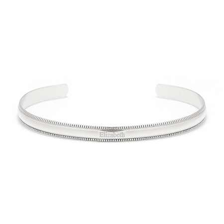 925 Silver Cuff Engraved Name Bracelet