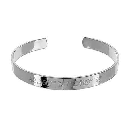 Wide Customizable Coordinates Engraved Steel Bangle Bracelet