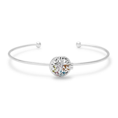 Customized Family Tree Silver Birthstone Locket Bracelet