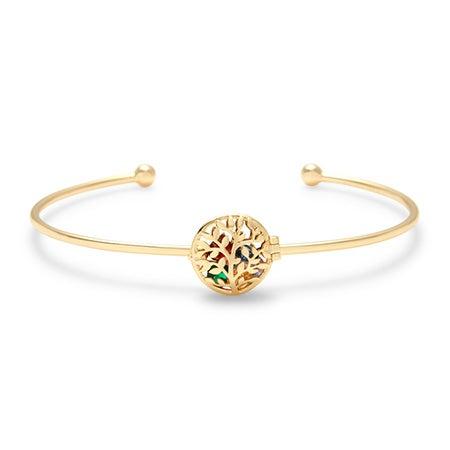 Personalized Gold Family Tree CZ Birthstone Locket Bracelet