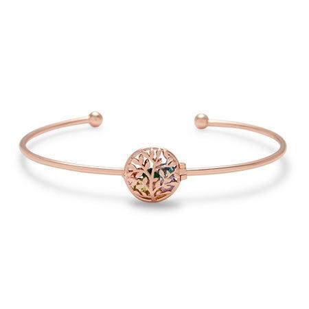 Customized Family Tree Birthstone Locket Rose Gold Bracelet