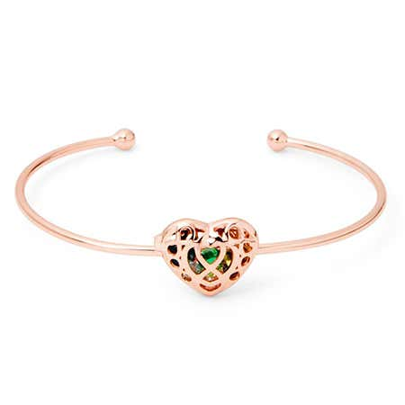 Custom Infinity Heart Rose Gold Birthstone Locket Bracelet