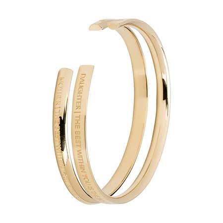 2 Piece Gold Plated Mother Daughter Cuff Bracelet Set