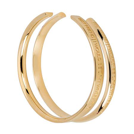 Best Friend Gold Cuff bangle Bracelet Set by Stella Valle