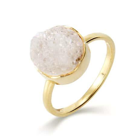 Genuine White Drusy Quartz Round Set Ring   Eve's Addiction®