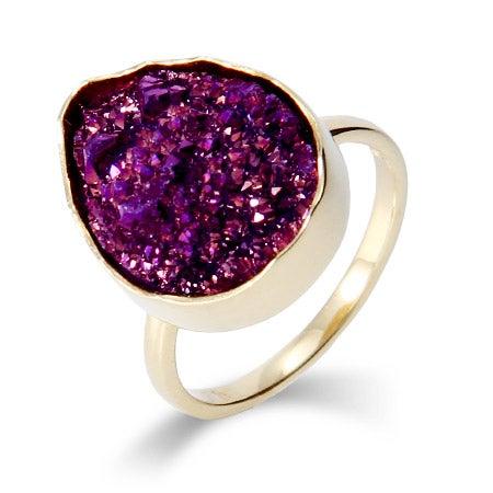 Genuine Amethyst Druzy Quartz Golden Peardrop Ring | Eve's Addiction®