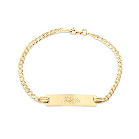 "Kids 14k Gold 6"" Engravable Cuban Link ID Bracelet 