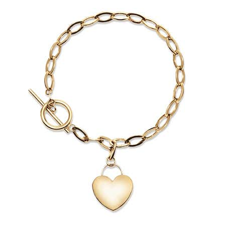 Engravable 14K Gold Heart Tag Bracelet