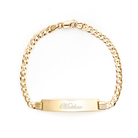 Men's 14K Gold Engravable Cuban Link ID Bracelet | Eve's Addiction®