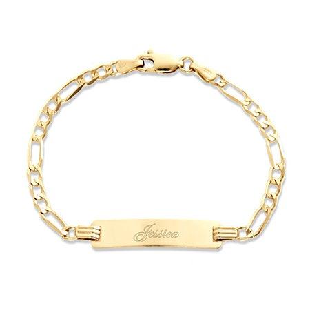 "Kid's 14K Gold 6"" Engravable Figaro ID Bracelet | Eve's Addiction®"