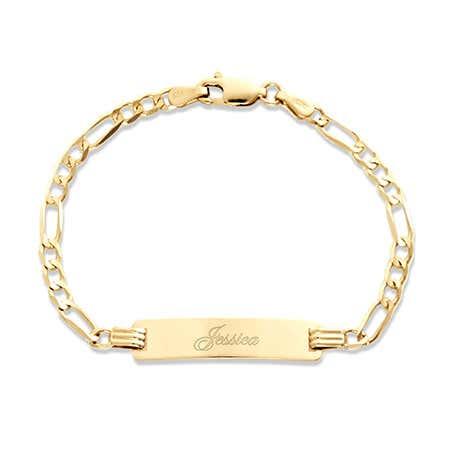 "Kid's 14K Gold 6"" Engravable Figaro ID Bracelet"