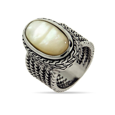 Designer Inspired Oval Mother of Pearl Ring with Braided Edge | Eve's Addiction®