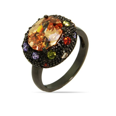 Oval Black Rhodium Ring with Champagne Stone & Multicolor CZs | Eve's Addiction®