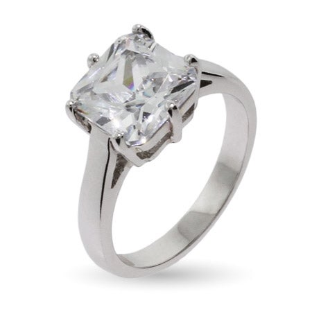 Celebrity Inspired Simple Princess Cut CZ Engagement Ring | Eve's Addiction®