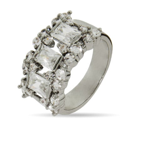 Victorian Style Three Stone Emerald Cut Right Hand Ring   Eve's Addiction®
