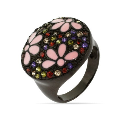 Black Rhodium Forest Enamel Flower Ring | Eve's Addiction®