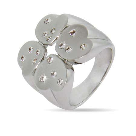 Matte Finish Four Heart Clover Ring with CZ Accent | Eve's Addiction®