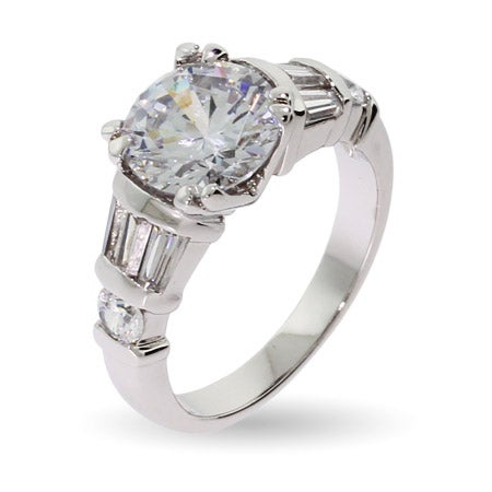 3 Carat Cable Prong CZ Engagement Ring with Baguette Accents | Eve's Addiction®
