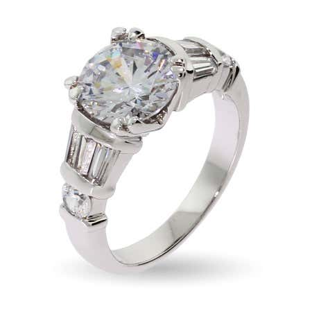 3 Carat Cable Prong CZ Ring with Baguette Accents