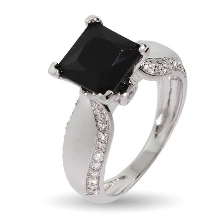 Onyx Cubic Zirconia Ring with CZ Studded Band | Eve's Addiction®