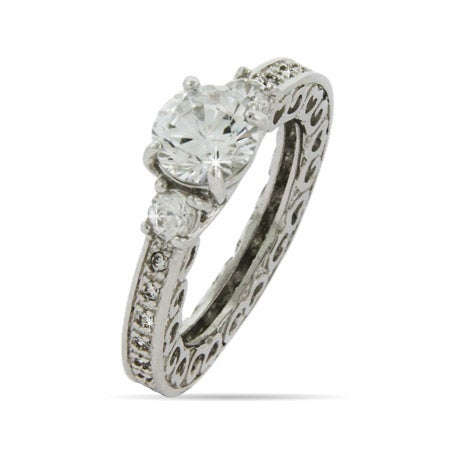 Vintage Heart Scroll Edge Engagement Ring | Eve's Addiction®
