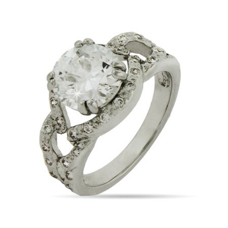 Encircled CZ Engagement Ring with Braided Band | Eve's Addiction®