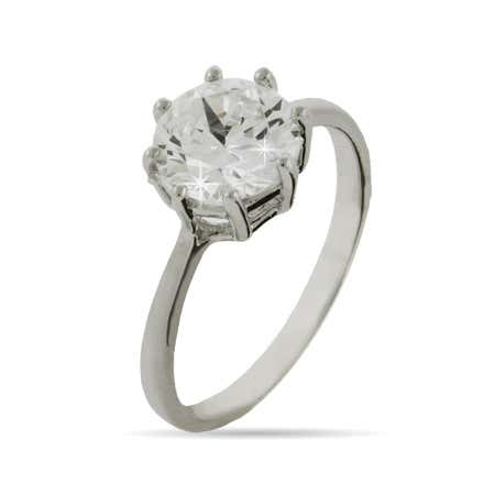 Celebrity inspired round simple cz engagement ring from Eves Addiction
