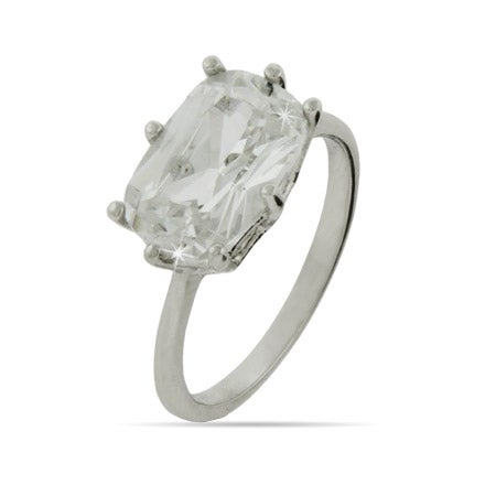 Sideways Emerald CZ Engagement Ring | Eve's Addiction®