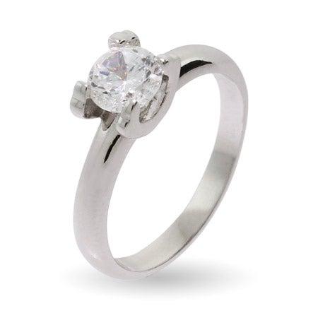 Elegant Simple Round Brilliant Cut CZ Promise Ring | Eve's Addiction®