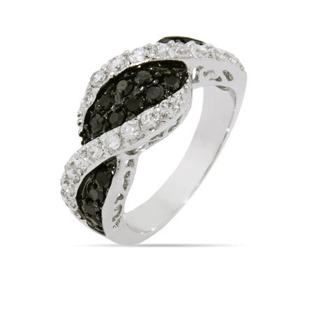 Black and White CZ Twist Ring | Eve's Addiction®