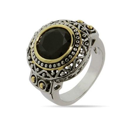 Designer Inspired Round Onyx CZ Bali Style Ring | Eve's Addiction®
