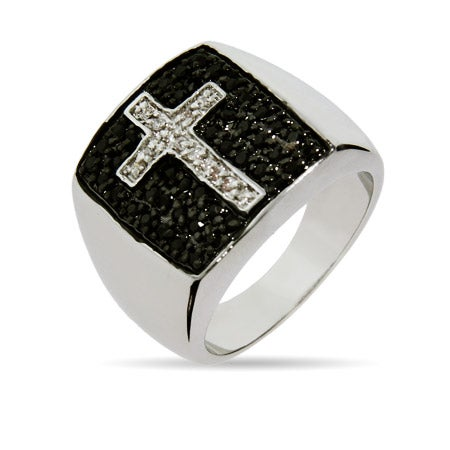 Silver Tone Brass Black Pave CZ Cross Ring | Eve's Addiction