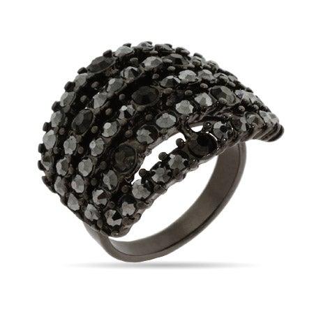 Five Row Smokey Gray Crystal Ring | Eve's Addiction®