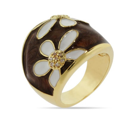Gold Daisy Ring with White and Brown Enamel | Eve's Addiction®