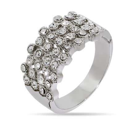 Four Row Bezel Set Crystal Ring | Eve's Addiction®